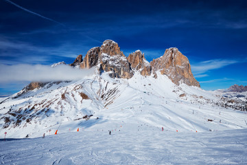 Ski resort in Dolomites, Italy