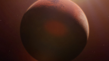 red planet Mars in natural colors, close up with visible atmosphere