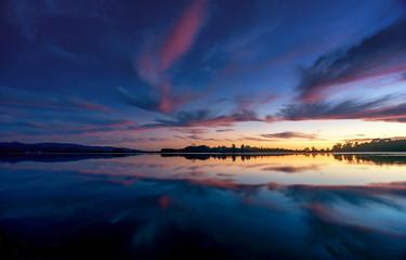 Beautiful sunset on the   Lake Matheson in New Zealand