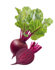 Red beet root and slice isolated on white background