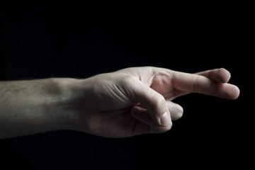Hand with locked fingers.