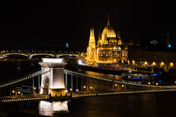 Budapest Parliament view over the chain bridge and Danube river