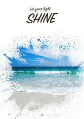 Fototapete - Background and design, with a splash effect, with a photograph of a beautiful sandy beach and a place for text, travel and vacation concept. Suitable for book covers, advertisements, brochures, flyers