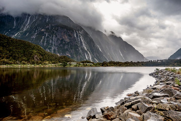 Mountains at  Milford Sound in New Zealand