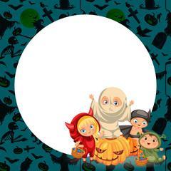 Cartoon children in mystery costumes flat poster