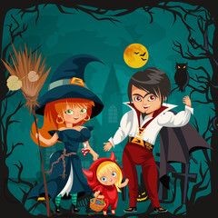 All Hallows Eve family party flat poster vector illustration. Cartoon smiling parents with daughter dressed in nice Halloween costumes of witch dracula and devil. template design with promo copyspace