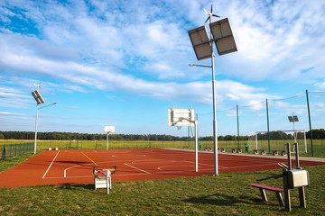 Sports playground with eco-friendly lighting
