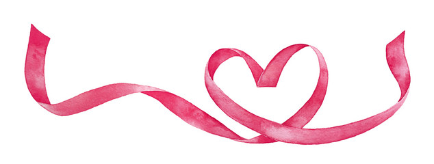 Hand painted watercolour drawing of pink satin heart shaped ribbon. Beautiful artistic border ornament for press, printed material, text, design, greeting cards, graphic arts production decoration.