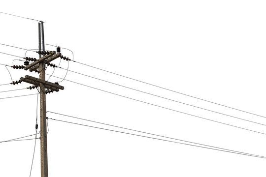 Electric pylon isolated on white background.