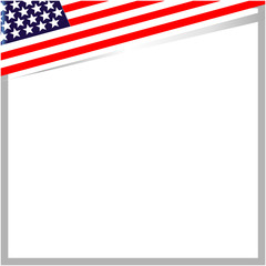 US flag corner border with empty space for your text.