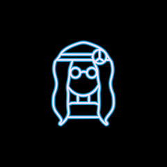 A hippie girl with glasses icon in neon style. One of Life style collection icon can be used for UI, UX
