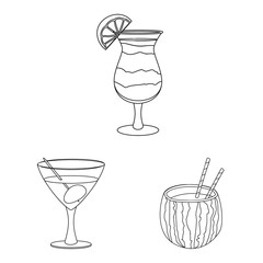 Isolated object of drink and bar icon. Set of drink and party vector icon for stock.