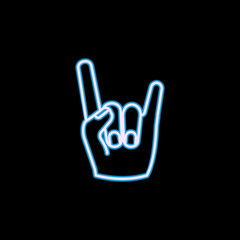 Rock and roll hand icon in neon style. One of Life style collection icon can be used for UI, UX