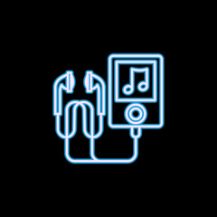 Music player icon in neon style. One of Life style collection icon can be used for UI, UX