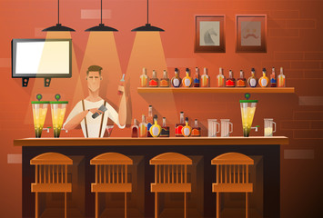 Vector banner of interior with bar counter, bar chairs and shelves with alcohol. Bartender at the counter works. Handsome bartender makes the cocktail