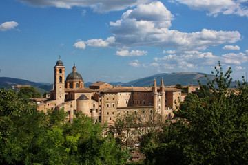 Urbino, Italy, ducal palace and city skyline, ancient and historical medieval city