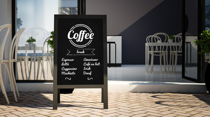 blackboard mockup on restaurant entrance