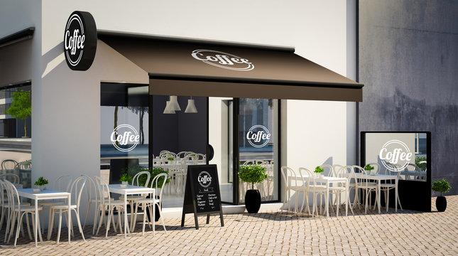 café facade mockup with branding elements