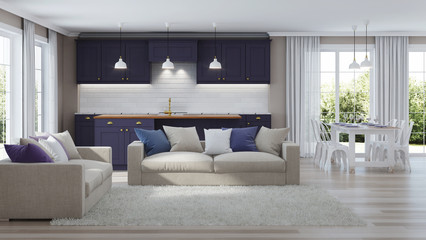 The modern interior of the house with a dark purple kitchen. 3D rendering.