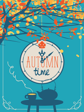 Vector landscape in retro style on the fall theme with the words autumn time on the clock, with a cup of hot drink and kettle on the table in a street cafe under the autumn tree.