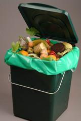 Trash bin full of organic waste