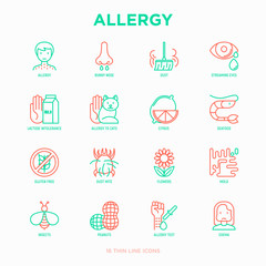Allergy thin line icons set: runny nose, dust, streaming eyes, lactose intolerance, citrus, seafood,gluten free, dust mite, flower, mold, peanut, allergy test, edema. Modern vector illustration.