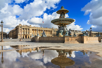 Beautiful reflection of the fountain at place de la Concorde in Paris, France