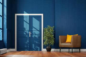 Korridor Flur mit Flügeltür und Sessel vor Wand