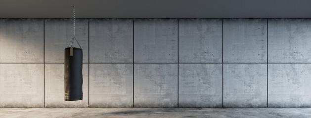 Boxsack vor Wand Hintergrund im Fitnesscenter