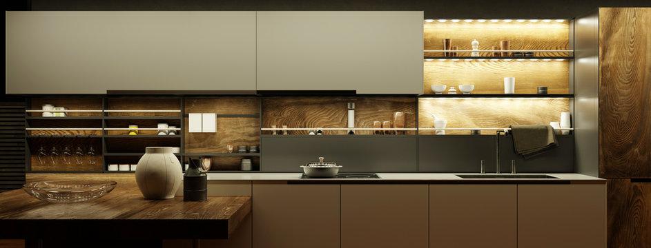 Moderne Küche nachts mit LED Licht