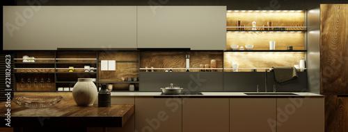 Moderne Küche nachts mit LED Licht\