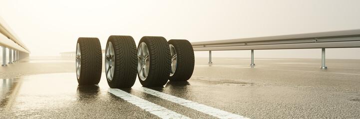 Reifen auf Fahrbahn bei Regen Wetter