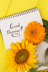 Unripe sunflowers and notepad. Good morning wish. Yellow wooden background.