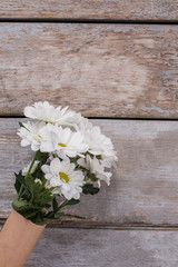Bouquet of chamomile on old wooden background. Close up. Top view.