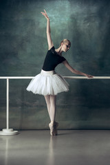 The classic ballet dancer in white tutu posing at ballet barre on studio background. Young teen...