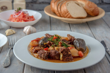 Beef stewed with vegetables, uzbek national dish.