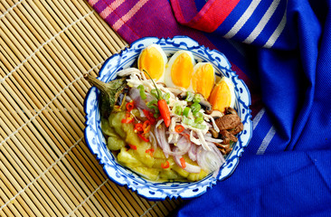 Thai menu style Grilled Eggplant salad with egg boil (Thai name is Yum Ma Kheau Yao). Eggplant menu for weight loss.