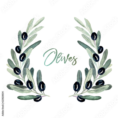 28c98372a809 Watercolor olea floral illustration - wreath with olive leaf branches and  black olives