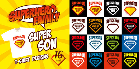 Set Super son logo superhero T-shirt design