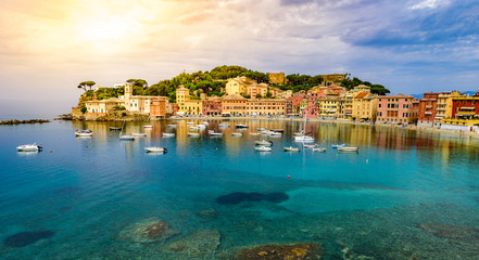Printed roller blinds Sea Sestri Levante - Paradise Bay of Silence with its boats and its lovely beach. Beautiful coast at Province of Genoa in Liguria, Italy, Europe.