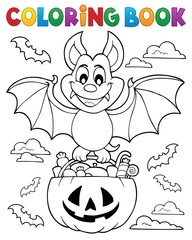 Coloring book Halloween bat theme 1