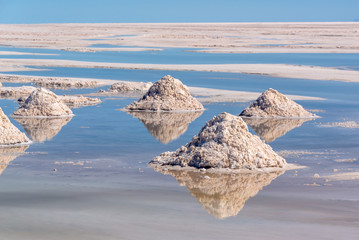 Piles of salt in Salar de Uyuni, Potosi, Bolivia