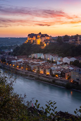 Burghausen city with the longest castle of the world shot at blue hour