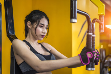 Sport woman exercise for bodybuilding in the gym