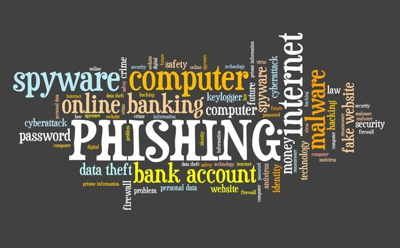 Phishing cyber security - word cloud sign
