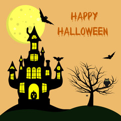 Happy Halloween. A witch s castle with a pumpkin, near a tree, an owl, spiders and cobwebs, volatile vampires against the full moon.
