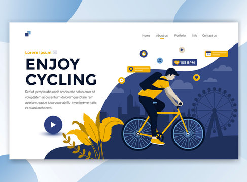 Flat Modern design of wesite template - Enjoy Cycling