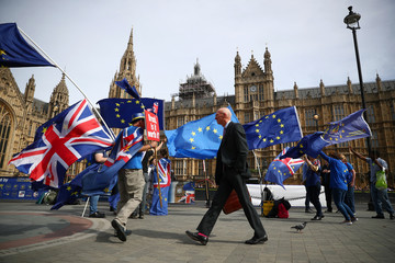 Anti-Brexit demonstrators wave flags outside the Houses of Parliament, in London