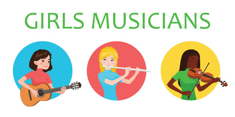 Musicians girls is inspired to play different musical instruments. Violinist, flutist, guitarist. Vector illustration in flat cartoon style on white background for your design, print. Music class.