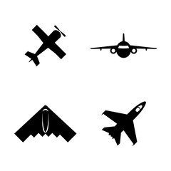 Airplanes, Planes. Simple Related Vector Icons Set for Video, Mobile Apps, Web Sites, Print Projects and Your Design. Airplanes, Planes icon Black Flat Illustration on White Background.